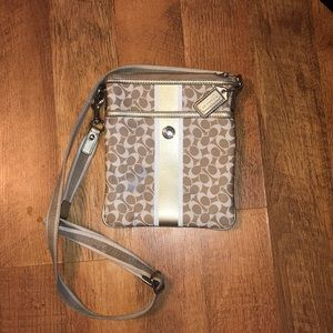 Gold & white Coach Crossbody purse